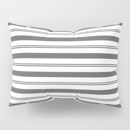 Pantone Pewter Gray and White Stripes, Wide and Narrow Horizontal Line Pattern Pillow Sham