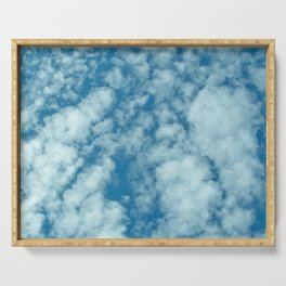Fluffy clouds in a blue sky Serving Tray