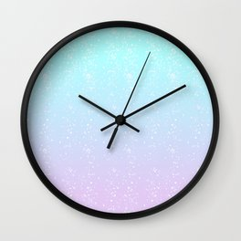 Turquoise and Lavender Pastel Bokeh Effect Ombre Wall Clock
