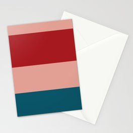 A particular blend of Rouge, Blush, Silver, Dark Cyan and Philippine Indigo stripes. Stationery Cards