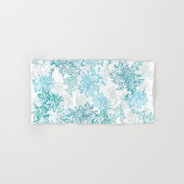 Turquoise and grey passionflower layered pattern Hand & Bath Towel