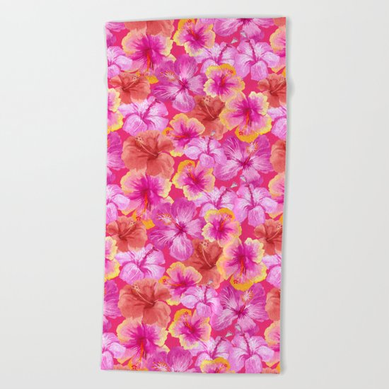 Tropical hibiscus pattern on pink  Beach Towel