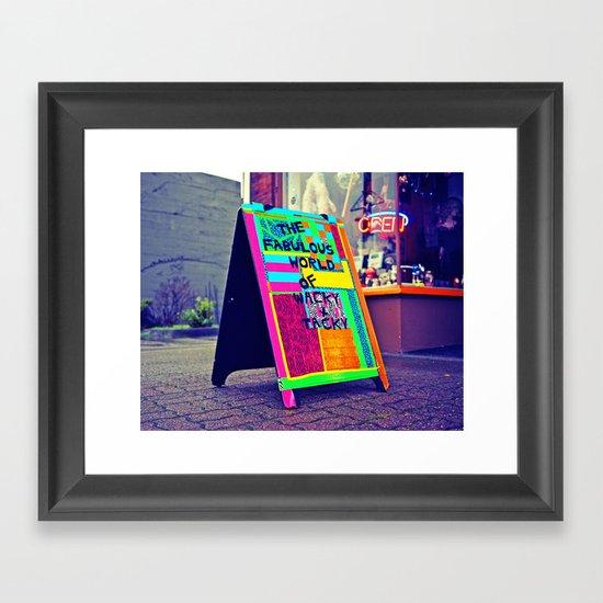 Wacky sidewalk sign Framed Art Print