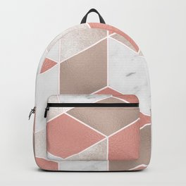 Summer peach marble geometry Backpack