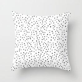 Small Spots Black On White Throw Pillow