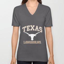 Texas Longhorns UT NCAA hrns1005 texas t-shirts Unisex V-Neck