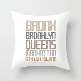 New York City Boroughs Throw Pillow