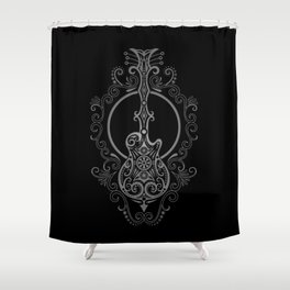 Intricate Gray and Black Electric Guitar Design Shower Curtain