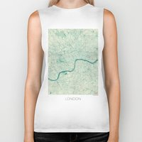 vintage map Biker Tanks featuring London Map Blue Vintage by City Art Posters