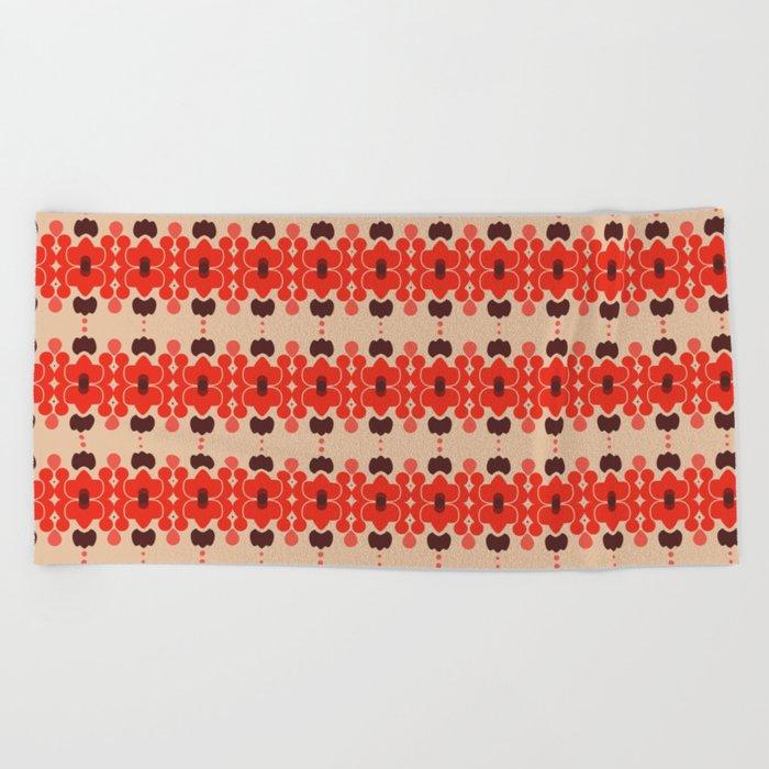 Red pattern rouge 6 Beach Towel