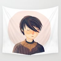 arya Wall Tapestries featuring There Is Only One Thing We Say To Death by Nan Lawson