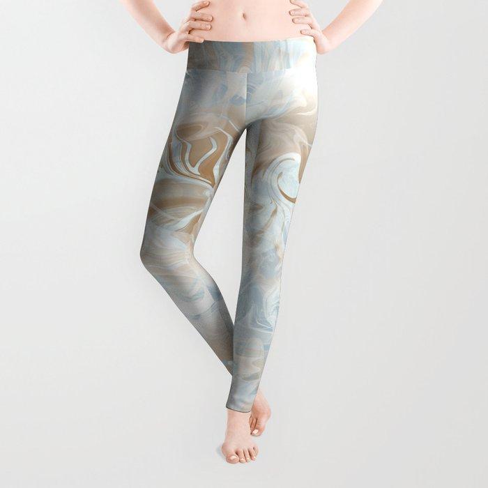 Watercolour in Blue Gold Leggings