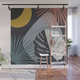 Minimal Yin Yang Monstera Fan Palm Night Finesse #1 #tropical #decor #art #society6 Wall Mural