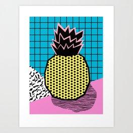 Grindage - pineapple fruit tropical pattern memphis style art print bright neon 1980 1980's 80's 80s Art Print