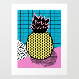 Grindage - pineapple fruit tropical pattern memphis style art print bright neon 1980 1980's 80's 80s Art Print