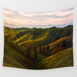 English Fairy Tale Rolling Green Hills Wall Tapestry