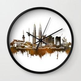 Kuala Lumpur skyline city brown Wall Clock