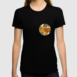 Kimono pattern in gold and rust watercolor design T-shirt