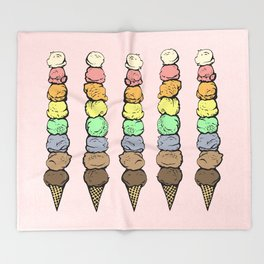 Giant Rainbow Ice Cream Cones Throw Blanket