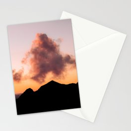 Minimalist Cloud lit up by a Summer Sunset in the Mountains - Landscape Photography Stationery Cards