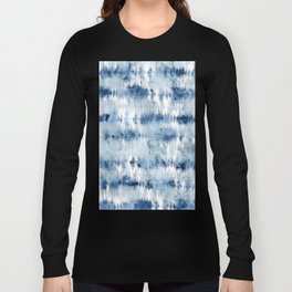 Modern hand painted dark blue tie dye batik watercolor Long Sleeve T-shirt