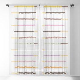 21 Flavors of Pocky - white Sheer Curtain
