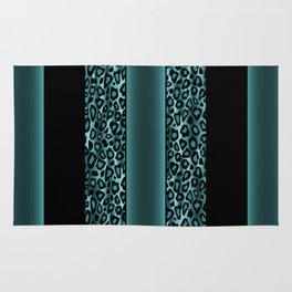 Jade and Black Jaguar Animal Print Rug