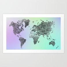 Fingerprinted World Map Art Print