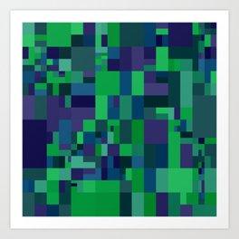dark mosaic with blue green Art Print