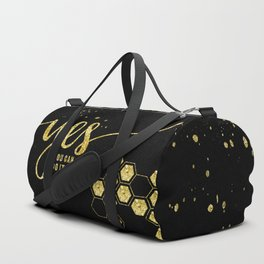 TEXT ART GOLD Yes you can do it Duffle Bag