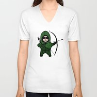 green arrow V-neck T-shirts featuring Green Arrow by YiannisTees