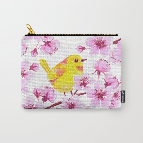 Cherry blossom and yellow bird Carry-All Pouch