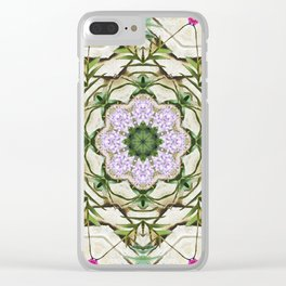 Orchids And Stone Wall Kaleidoscope 1764 Clear iPhone Case