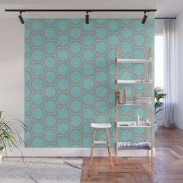 Hexagonal Dreams - Grey & Turquoise Wall Mural
