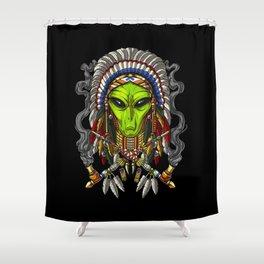 Native American Alien Indian Chief Headdress Shower Curtain