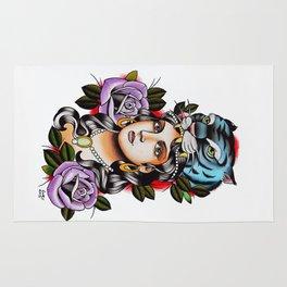 PaperTigress girl with tiger head - tattoo Rug