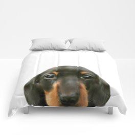Dachshund baby Dog illustration original painting print Comforters