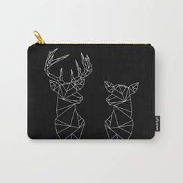 Geometric Stag and Doe (White on Black) Carry-All Pouch