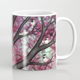 black capped chickadees and spring bokeh Coffee Mug