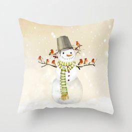 Snowman and Birds Throw Pillow