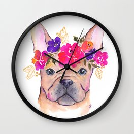 Frenchie Floral watercolor Wall Clock