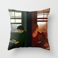 enjolras Throw Pillows featuring Enjolras & Grantaire by rdjpwns
