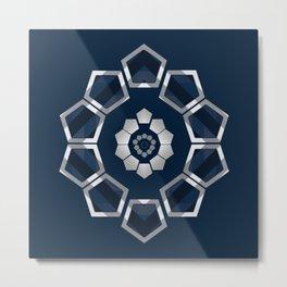 GeoFlower - Classy Blue Metal Print
