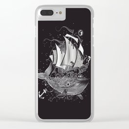 Great white whale and a sailing ship Clear iPhone Case