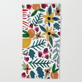 Golden Flora Beach Towel