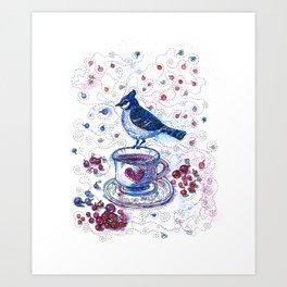 Winter Tea (Ble Jay) Art Print