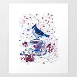 Winter Tea (Ble Jay) Art Print