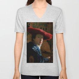 "Johannes Vermeer ""Girl with a Red Hat"" Unisex V-Neck"