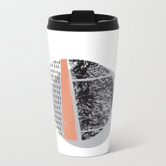 Abstract circles in peach and black Metal Travel Mug