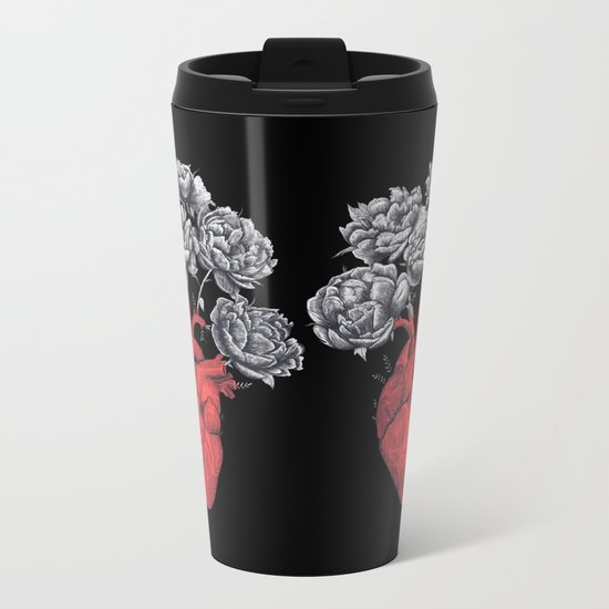 Heart with peonies on black Metal Travel Mug